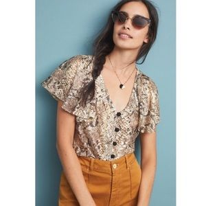 NWT Anthropologie Snake Print Lace Frill Top